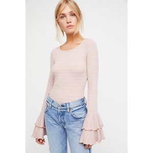 """FREE PEOPLE STRIPED LILAC """"GOOD FIND"""" LONG SLEEVE"""